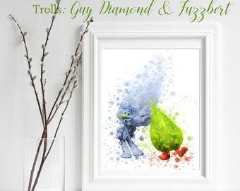 TROLLS; Guy Diamond & Fuzzbert Print, Trolls Watercolor, Trolls Nursery Decor, Troll Wall Art, Gifts for him, playroom decor, Troll decor