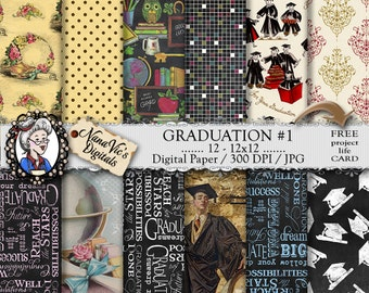 Graduation Digital Paper, chalkboard design, background, school paper, Scrapbooking Printable, photography, graduate layout, vintage paper