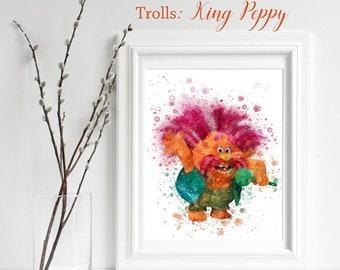 TROLLS; King Peppy Print, Trolls Watercolor, Trolls Nursery Decor, Troll Wall Art, Gifts for him, playroom decor, Troll King Peppy, Trolls