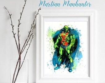Superhero Martian Manhunter Watercolor Print, Martian Manhunter Wall Decor, Home Decor Kids Decor Nursery Decor Marvel DC Comic Hero Poster