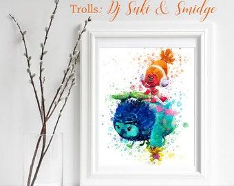 TROLLS; Dj Suki & Smidge Print, Trolls Watercolor, Trolls Nursery Decor, Troll Wall Art, Gifts for him, playroom decor, Troll decoration