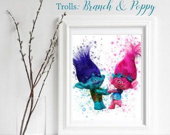 TROLLS; Branch & Poppy Print, Trolls Watercolor, Trolls Nursery Decor, Troll Wall Art, Engagement gift, playroom decor, Branch and Poppy