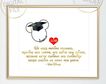 MICKEY MOUSE GRADUATION Disney quote: Graduation Print, Walt Disney quote, Made to order with name in Mickey Mouse head, graduation keepsake