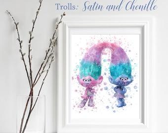 TROLLS; Satin & Chenille Print, Trolls Watercolor, Trolls Nursery Decor, Troll Wall Art, gift for her, playroom decor, Troll Poppy, Sisters