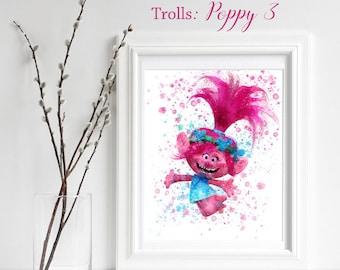 TROLLS; Poppy 3 Print, Trolls Watercolor, Trolls Nursery Decor, Troll Wall Art, gift for her, playroom decor, Poppy 3, jump for joy, happy