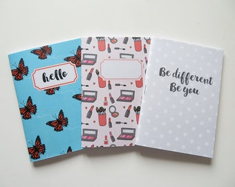 Pack of Pocket size Journals - Typography Be different Be you Hello Butterfly Makeup- Pack of 3 Notebooks - A6 - Blank Pages