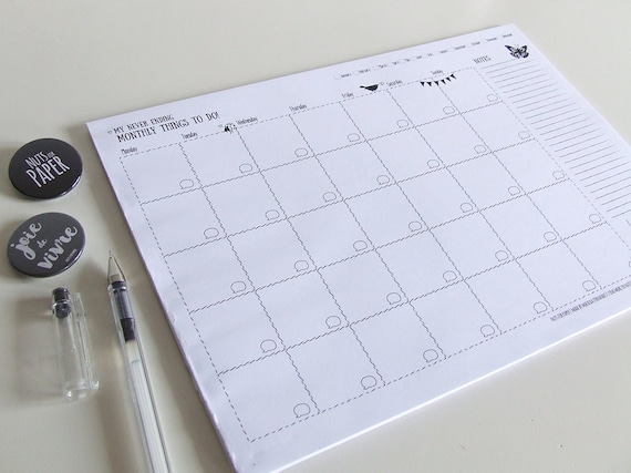 Large Desk Notepad My Never Ending Monthly Things To Do Planner Pad Undated Planner Illustrated A3