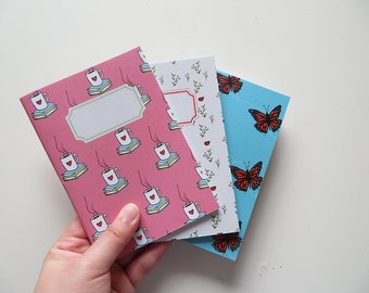 Books & Tea Pink Ladybug Butterfly - Pack Small Journals - Pack of 3 Notebooks - A6 - Blank Pages