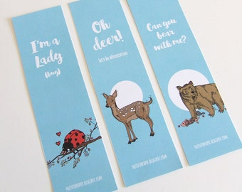 Animal Quotes Bookmark Collection (w/ funny quotes) - 3 Bookmarks