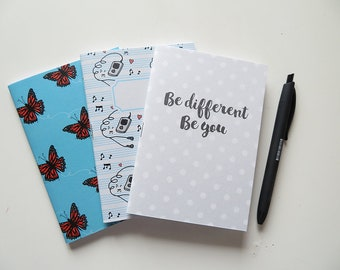 Pack of Pocket size Journals - Typography Be different Be you Music Butterfly- Pack of 3 Notebooks - A6 - Blank Pages