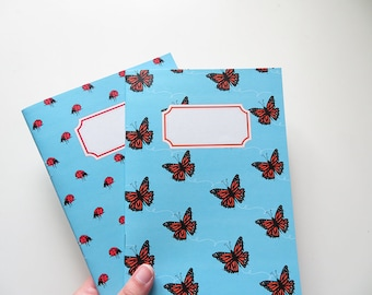Blue Notebooks - Monarch Butterfly & Ladybug - Blank A5 Notebooks - Pack of 2 Journals - Pattern