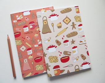 Pink & Beige Recipe Books - Blank A5 Notebooks - Blank Pages Journal - Cookbook