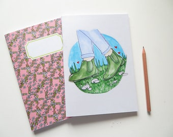 Pink Spring Flowers & Boots Illustration  - Blank A5 Notebooks - Pack of 2 Journals - Pattern
