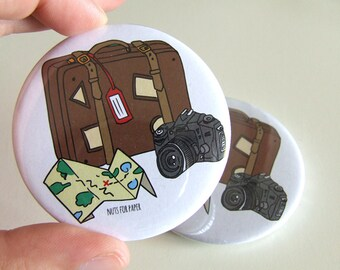 Travel Badge - 57mm Large Pin 2.25 inch - Illustration - Pinback Button