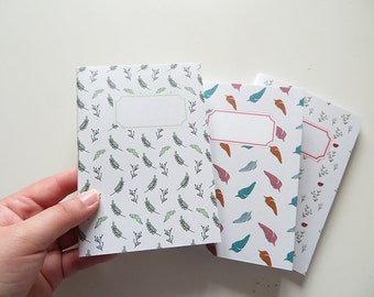 Pack Small Journals - Feather Leaves and Ladybug - Pack of 3 Notebooks - A6 - Blank Pages