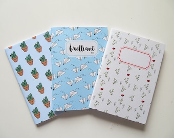 For Brilliant Ideas Typography Notebook Cactus & Ladybug - Pack of Pocket size Journals - Pack of 3 Notebooks - A6 - Blank Pages