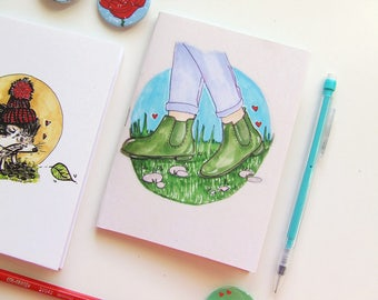 Spring Boots - Pocket size Notebook - Illustration - A6 Notebook - Blank Pages