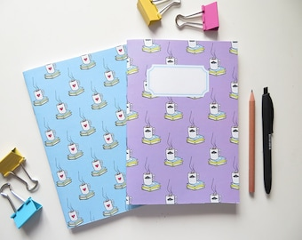 Purple and Blue Books & Tea - Blank A5 Notebooks - Pack of 2 Journals - Pattern