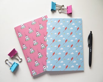 Pink Books & Tea and Kites - Blank A5 Notebooks - Pack of 2 Journals - Pattern