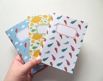 Lemon Feathers & Kites - Pack Small Journals - Pack of 3 Notebooks - A6 - Blank Pages