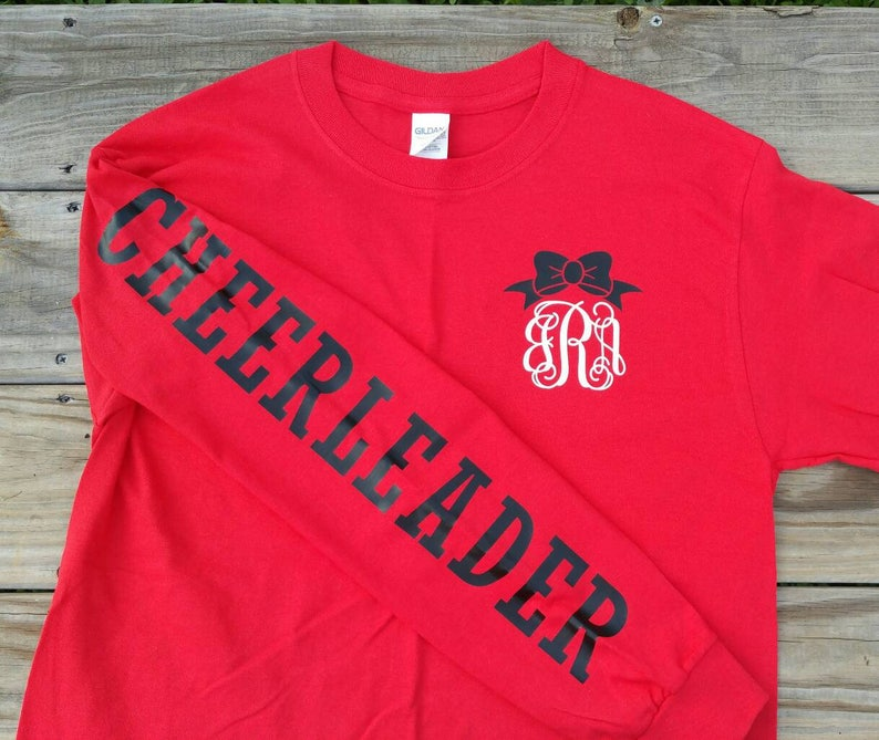 d344acd6 Long Sleeve Monogram Cheerleader Jersey Shirt / Varsity | Etsy
