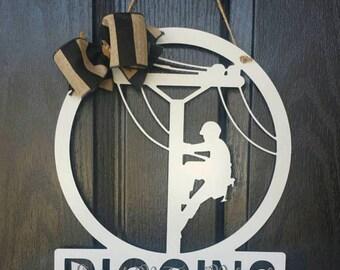 Lineman Door Hanger / Lineman Sign / Monogram Lineman Door Hanger