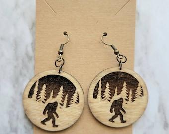 Wooden Sasquatch Earrings / Wood Big Foot Earrings / Round Sasquatch Earrings / Wooden Jewelry