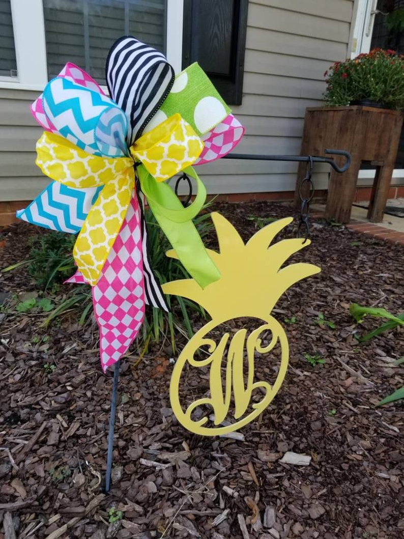 Personalized Pineapple Door Hanger  Monogram Pineapple Door Hanger  Pineapple Initial Door Hanger