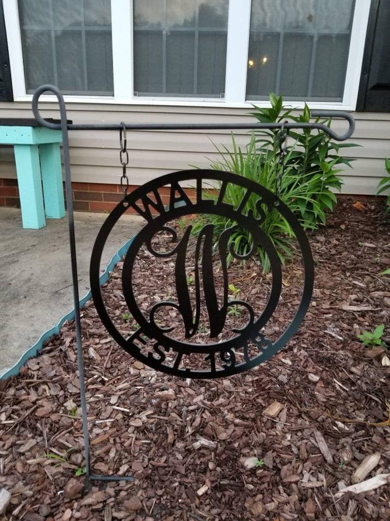 Single Initial wLast Name Door Hanger ~or~ Garden Flag  Initial Door Wreath  Monogram Door Hanger Wreath
