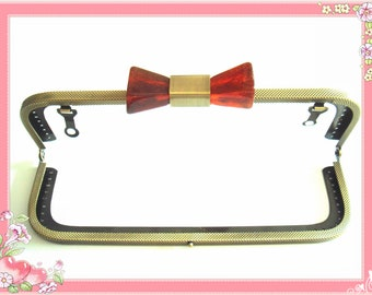 7.87 in brass bag hanger light purple bowknot frame 20cm