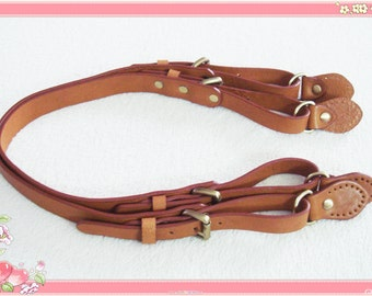 56cm (22.05 in) High quality genuine leather bag handles light brown 1 pair of anti brass metal parts