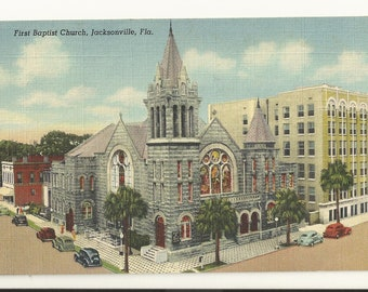 1940s Linen Postcard- View of Hotel George Washington Duval County Jacksonville FL.~ Free Shipping Florida