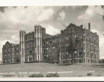 1940s Real Photo RPPC Postcard: View of Men's Hall, Doane College, Crete, Saline County, Nebraska, NE. ~ Free Shipping ~ Small Town PC