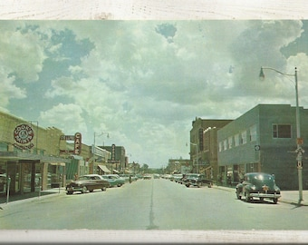 1950s Chrome Postcard: View of Main Street, Business District, Ogallala, Keith County, Nebraska, NE. ~ Free Shipping ~ Very Small Town PC