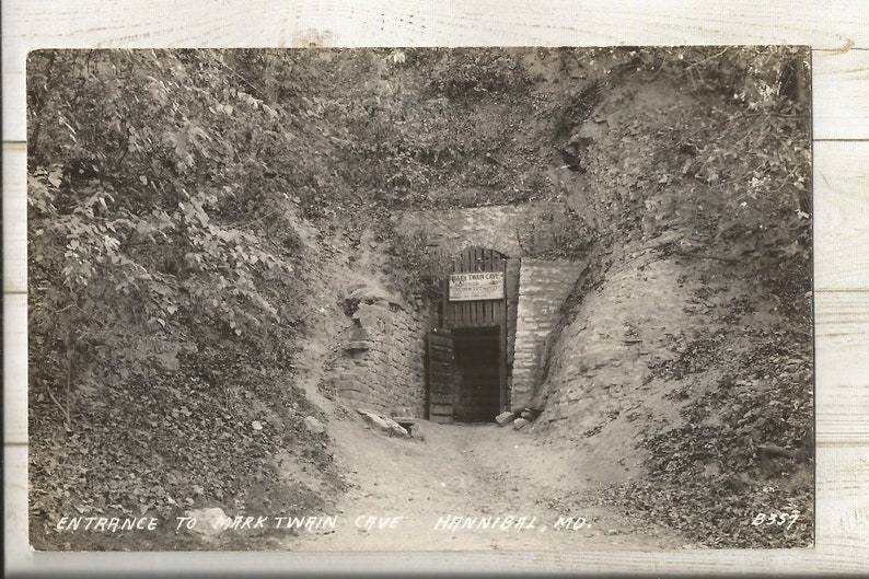 1940s Real Photo RPPC Postcard: Entrance to Mark Twain Cave MO ~ Free Shipping Missouri Hannibal Marion and Ralls Counties