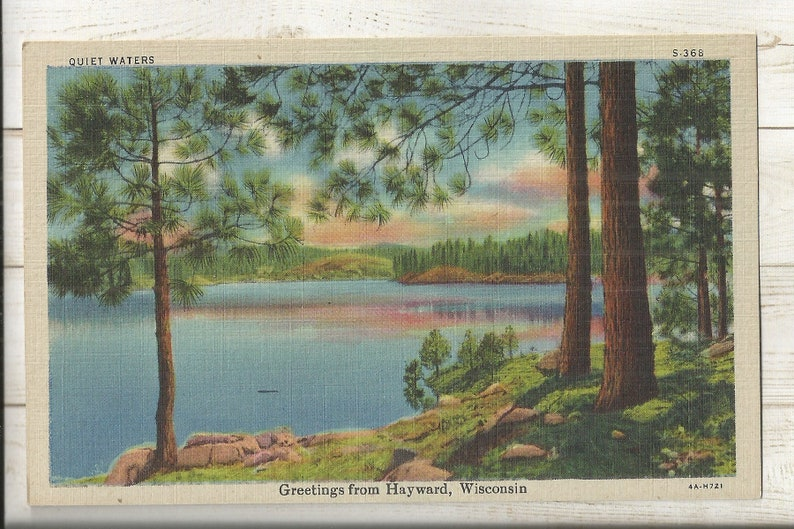 Greetings from Hayward ~ Free Shipping ~ Very Small Town PC 1940s Linen Postcard- Lake View WI Sawyer County Wisconsin