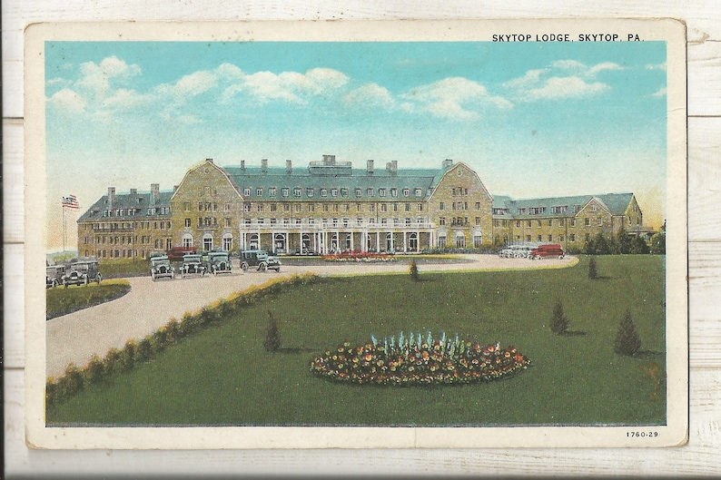Skytop PA Monroe County 1920s White Border WB Postcard- View of The Skytop Lodge Pennsylvania ~ Extremely Small Town PC