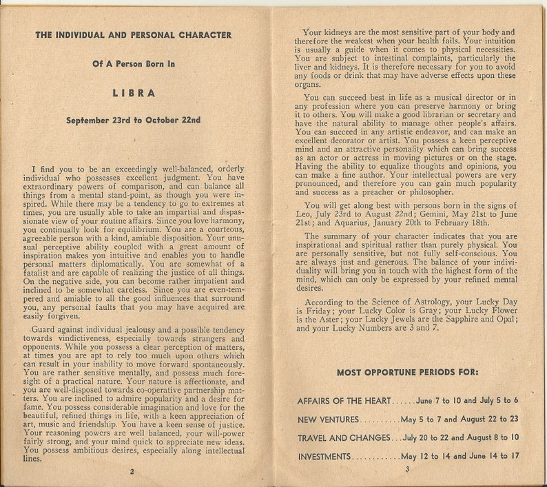 1942 Zolar's Individual Horoscope & Lucky Guide, Daily Astrological  Predictions, For October 11 Birthday- 4 5