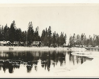 1930s Real Photo RPPC Postcard-Beautiful Winter Scene, Unknown Known Inn and Location, Idaho ~ Free Shipping