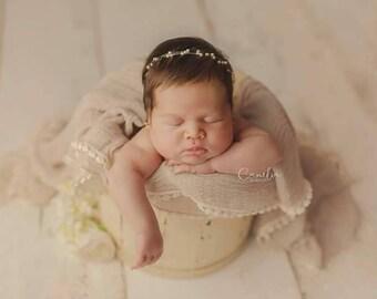 Delicate newborn headband pearls prop 54d3a414019
