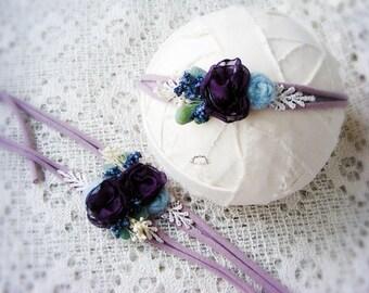 Purple flower newborn headband, Photography prop, Newborn tieback, Flower headband, Baby headband, Baby prop