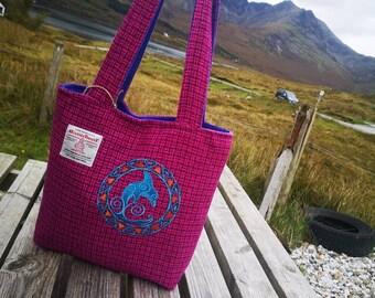 Handmade on the beautiful Isle of Skye Harris tweed bucket bag