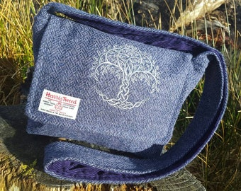 d07af6e6c2 Harris Tweed Cross body bag with embroidered tree of life. Handmade on the  beautiful Isle of Skye