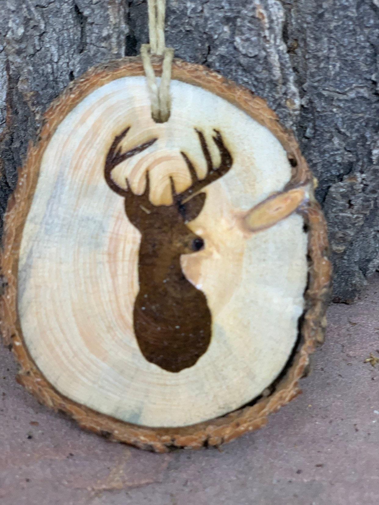 Rustic Wood Ornament Laser Engraved Ornament Deer Ornament Pinon Wood Ornament Pine Ornament Wood Ornament Laser Ornament