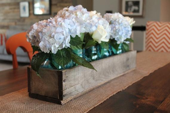Rustic wooden planter centerpiece box etsy
