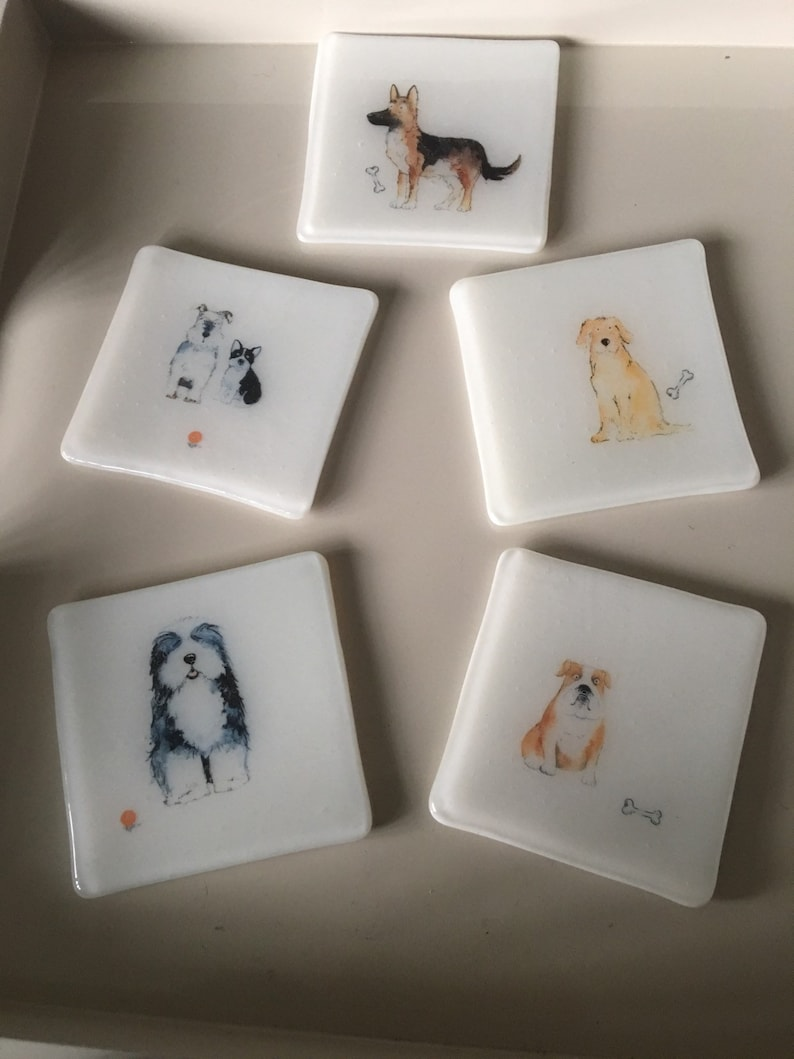 Dog coasters / fused glass tile with dogs set of 4