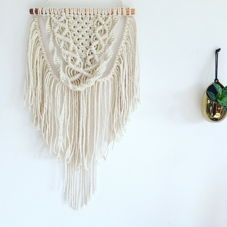 Sale Small Copper Macrame Wall Hanging Bohemian Wall Decor Etsy
