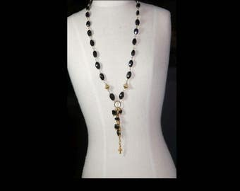 Black Spinel and gold plate necklace.