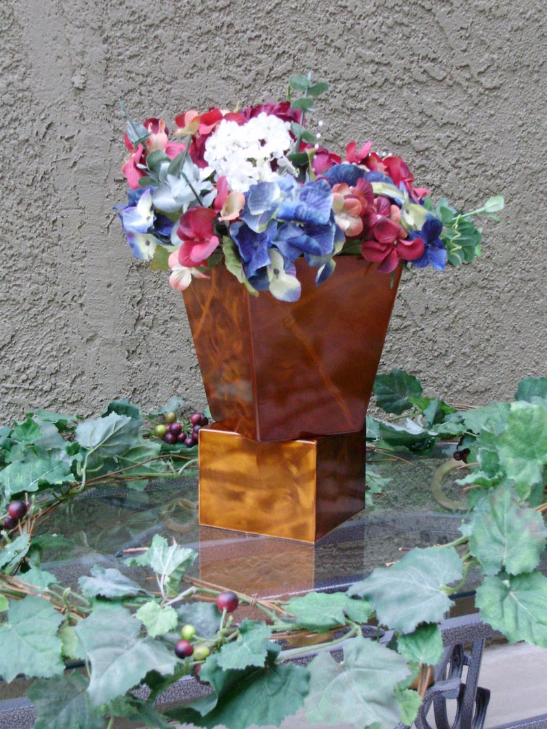 Metal Planter with Grind Patters  Fully Welded Translucent Copper Finish A cozy home decor piece for plants silk varietals and flowers.