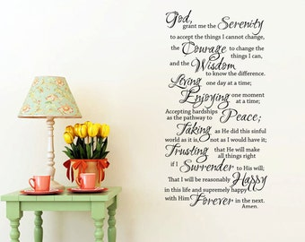 Serenity Prayer - Full Prayer Religious/Faith Wall Decal